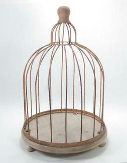 "Decorative Rustic Metal Wire Bird Cage on Wood Base 15"" Tall"