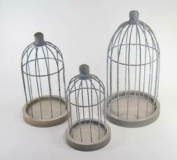 Decorative Rustic Metal Wire Bird Cages on Wood Base Set of