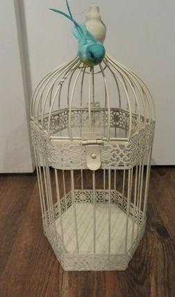 decorative white metal bird cage with bird