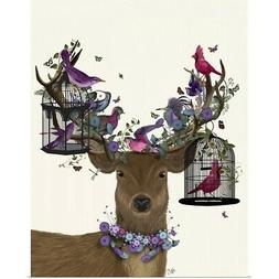 Deer Birdkeeper, Tropical Bird Cages Poster Art Print, Deer