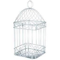 "DELUXE 14"" WHITE METAL BIRDCAGE HOME DECOR ~ CARDHOLDER"