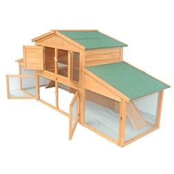 "Pawhut 91"" Deluxe Large Wooden Bunny Rabbit Hutch / Chicken"