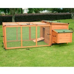 Pawhut Deluxe Wooden Chicken Coop with Backyard Outdoor Run,