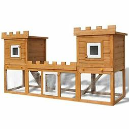vidaXL Deluxe Rabbit Hutch Wooden Outdoor Pet House Chicken