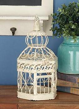 Zimlay Distressed White Iron Hexagonal Set Of 3 Bird Cages 9