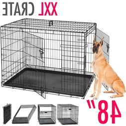 "Dog Kennels EXTRA LARGE Dog Crate 48"" Folding Cage Metal D"