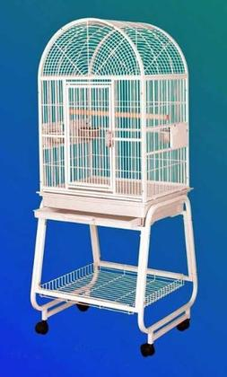 HQ 22x17 Dome Top Bird Cage and Rolling Stand w Shelf Black