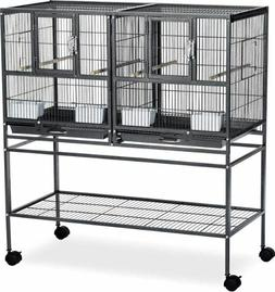 Double Bird Breeder Cage Habitat Stand Enclosure Pet Animal