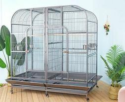Double Bird Cage with center divider for Parrot Macaw Aviary