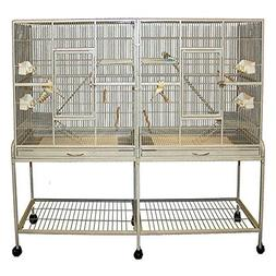 Double Birdhouse Treehouse Bird Cage and Flight Cage - 61''W