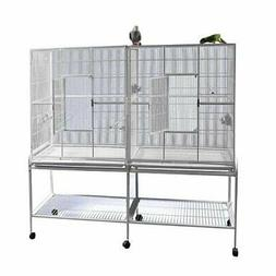 A&E Cage Double Flight Bird Cage with Divider- 64 X 21- Pure