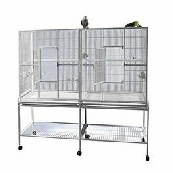 Double Flight Bird Cage with Divider Color: Platinum