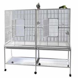 "Double Flight Bird Cage with Divider   - 64 ""w x"