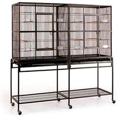 Large Double Flight Bird Wrought Iron Double Cage w/ Slide O