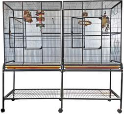 A&E Cage Co. 6421 Black Double Flight Cage with Divider, Lar
