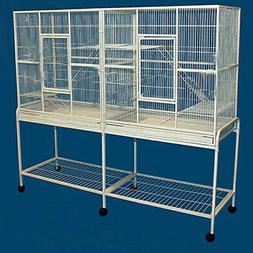 "64"" X-LARGE Double Flight Wrought Iron Bird Cage Cockatiel F"