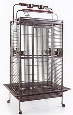 New Large Wrought Iron Bird Parrot Cage Double Ladders Open/