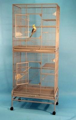 """Double Pali Place Bird Cage and Flight Cage with Stand - 30"""""""