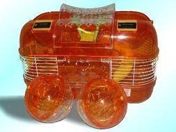 Space Probe Double Play Wheel Hamster Cage - Amber