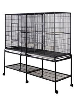 """Double Tiki Treehouse Bird Cage - 64"""" X 21"""" X 65"""" - Black"""