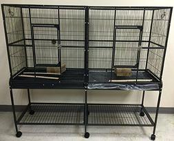 LARGE Double Wide Flight Wrought Iron Bird Cage Cockatiel Fe