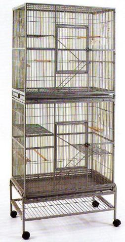 New Double Extra Large Wrought Iron Cage 3 Levels Bird Parro