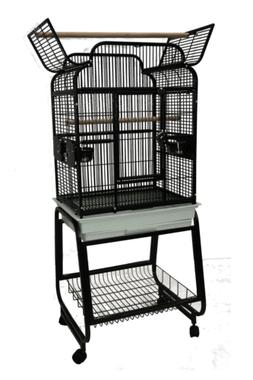 Bird Play Cage Open Victorian Top Black With Plastic Base Si