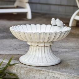 Eden Low Rise Pedestal Ceramic Outdoor Bird Bath Ivory