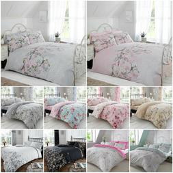 Eloise Birds Floral Quilt Cover Lace Print Bedding With Pill