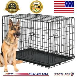 "Extra Large Dog Crate Kennel 48"" Folding Pet Cage Metal 2 Do"