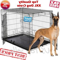 """Extra Large Dog Crate Kennel 48"""" Folding Pet Cage Metal 2 Do"""