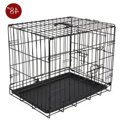 "Extra Large Dog Kennel Crate 48"" Folding Pet Cage Metal 2 Do"