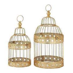 festive metal golden bird cages set of