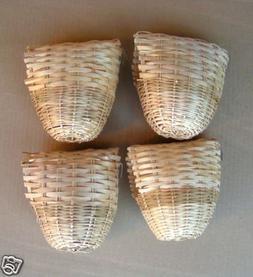 Finch Bird Bamboo Covered Bird Nest Lot of 4 - Large