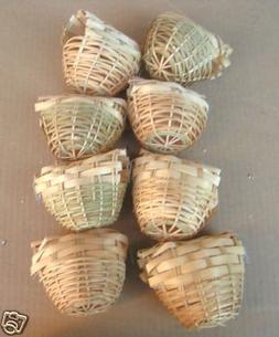 Finch Bird Bamboo Covered Bird Nest Lot of 8 -- Small