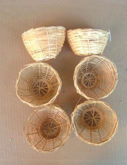Finch Bird Bamboo Opened Bird Nest Lot of 6--Medium