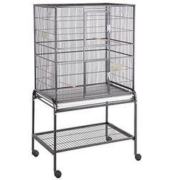 HQ Flight Cage, Multi Purpose Aviary with Cart Stand, Black,