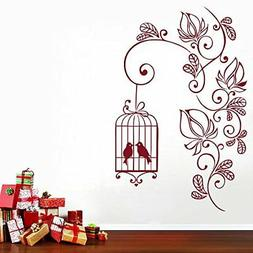 Flowering Branch with Bird Cage Home Art Décor Decal Wall S