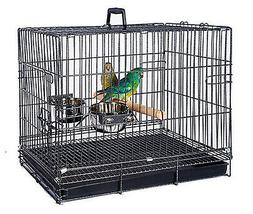 Foldable Travel Bird Parrot Carrier Metal Cage Standing Wood