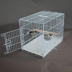 Foldable Travel Bird Parrot Carrier Metal Cage With Bowl & S