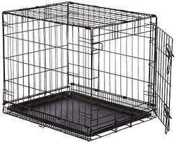 Folding Sturdy Metal Dog Crate Single Door Pet Cage  Plastic
