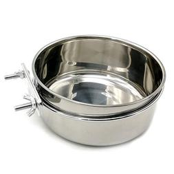Food & Water Bird Cup with Clamp Holder Stainless Steel Coop