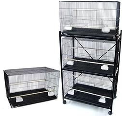 Four Medium Bird Cage with 2 Feeder Doors, Black