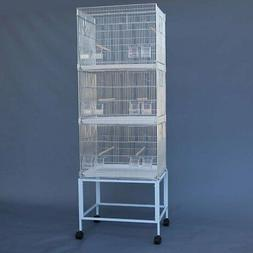 galvanised breeding bird cages on stand