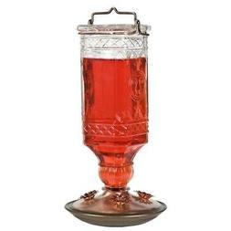 Perky-Pet 8118-2 Glass Antique Bottle Hummingbird Feeder, Cl