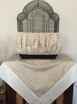 Handmade Gold Cheetah Print Bird Cage Skirt Seed Catcher Gua
