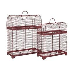 Set of 2 Good Luck Crimson Red Wire Decorative Bird Cages 20