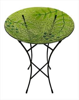 NorthLight 21 in. Hand Painted Glass Green Leaves And Berrie
