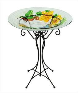 NorthLight 22.5 in. Hand Painted Glass Vibrant Hummingbird &