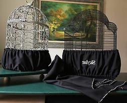 Handcrafted Black Fabric Bird Cage Skirt Seed Catcher Guard